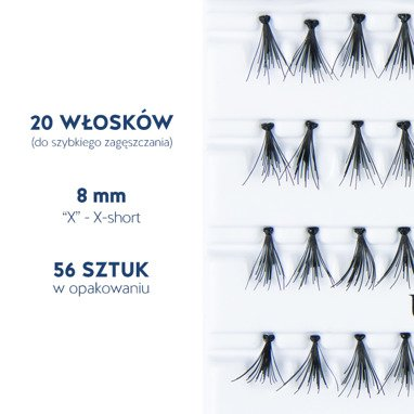 Fake individual eyelashes with knott, thickness 20 hairs, lenght 8 mm Lovenue by Magda Pieczonka (X)